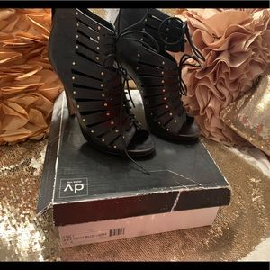 Dolce Vita black carly studded laceup cage bootie
